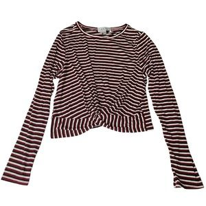 Long Sleeve Striped Top with Front Knot